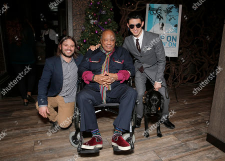 "Director Alan Hicks, Quincy Jones and Justin Kauflin (and dog Candy) attend a Special Screening of Radius-TWC's ""Keep on Keepin' On"" at iPic Westwood 6 on in Westwood, Calif"
