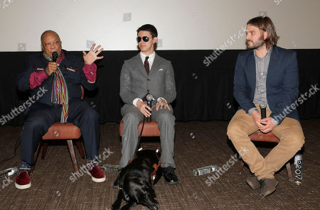 "Producer Quincy Jones, Justin Kauflin (with dog Candy) and Director Alan Hicks attend a Special Screening of Radius-TWC's ""Keep on Keepin' On"" at iPic Westwood 6 on in Westwood, Calif"