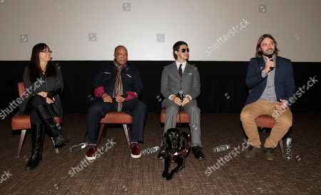 "Producer Paula DuPre Pesmen, Producer Quincy Jones, Justin Kauflin (with dog Candy) and Director Alan Hicks attend a Special Screening of Radius-TWC's ""Keep on Keepin' On"" at iPic Westwood 6 on in Westwood, Calif"