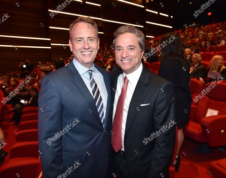 NBCUniversal's Robert Greenblatt, left, and Television Academy Hall of Fame Chair, Rick Rosen, at the Television Academy's 70th Anniversary Gala and Opening Celebration for its new Saban Media Center, in the NoHo Arts District in Los Angeles