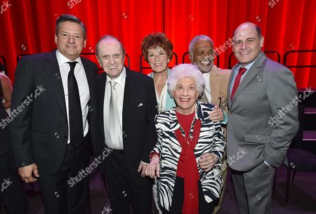 Ted Sarandos, from top left, Bob Newhart, Marion Ross, Ted Lange, Matthew Weiner, and from bottom, Charlotte Rae at the Television Academy's 70th Anniversary Gala and Opening Celebration for its new Saban Media Center, in the NoHo Arts District in Los Angeles