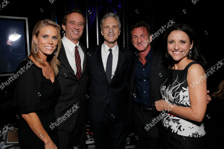From left, Cheryl Hines, Robert F. Kennedy Jr., co-founder of MTV and VH1 Cable Networks John Sykes, Sean Penn and Julia Louis-Dreyfus attend unite4:good and Variety's unite4:humanity at Sony Pictures Studios, in Culver City, Calif