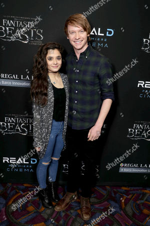 "Celesta Deastis and Calum Worthy seen at Warner Bros' ""Fantastic Beasts and Where to Find Them"" Los Angeles Screening at Regal LA, in Los Angeles"