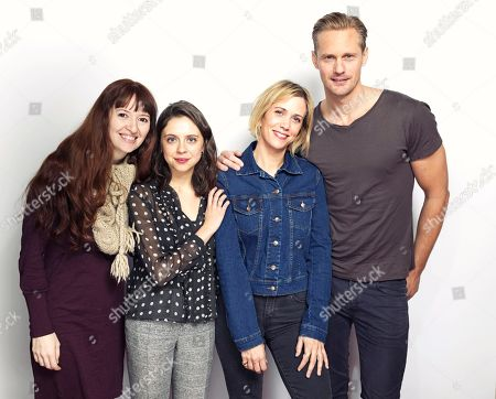 """Director Marielle Heller, from left, Bel Powley, Kristen Wiig and Alexander Skarsgard pose for a portrait to promote the film, """"The Diary of a Teenage Girl"""", at the Eddie Bauer Adventure House during the Sundance Film Festival, in Park City, Utah"""