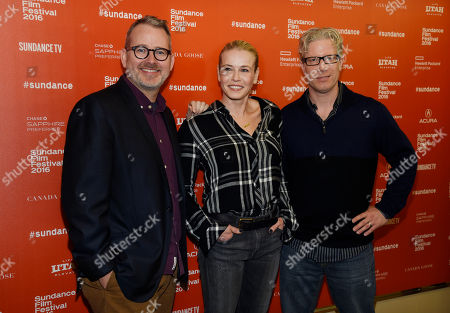 """Chelsea Handler, center, star and executive producer of """"Chelsea Does,"""" poses with executive producer Morgan Neville, left, and director/executive producer Eddie Schmidt at the premiere of the Netflix documentary series at the 2016 Sundance Film Festival, in Park City, Utah"""