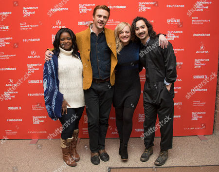 """From left, actress Octavia Spencer, actor Boyd Holbrook, actress Elisabeth Moss and writer/director Jason Lew pose at the premiere of """"The Free World"""" during the 2016 Sundance Film Festival, in Park City, Utah"""
