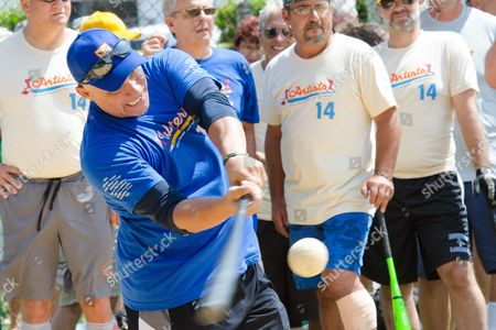 Jim Leyritz bats at the 66th Annual Artists and Writers Softball Game in East Hampton on in New York
