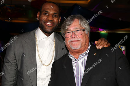 LeBron James, of the Miami Heat and Micky Arison, Managing General Partner of the Miami Heat, attend the 8th Annual Reid & Fiorentino Call of the Game Dinner Presented by Publix on at the Seminole Hard Rock Hotel & Casino in Hollywood, Fla