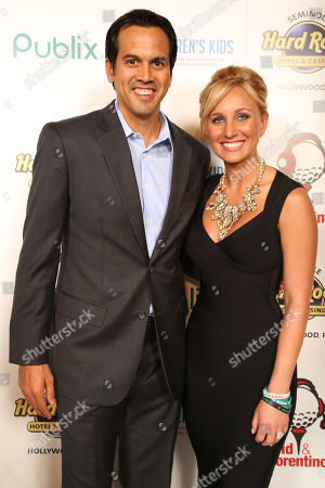Erik Spoelstra, Coach of the Miami Heat and Lauren Book, Founder and CEO of Lauren's Kids attend the 8th Annual Reid & Fiorentino Call of the Game Dinner Presented by Publix on at the Seminole Hard Rock Hotel & Casino in Hollywood, Fla