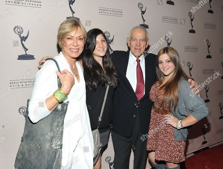 "OCTOBER 13: Writer Bill Persky (third from left) with wife Joanna and daughters Bella and Asia attend the Academy of Television Arts & Sciences Presents: ""An Evening Honoring Carl Reiner"" at the Leonard H. Goldenson Theatre on in North Hollywood, California"