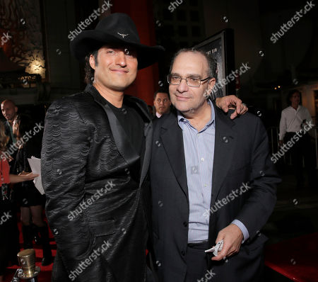 "Director Robert Rodriguez, left, and executive producer Bob Weinstein attends the Los Angeles premiere of ""Sin City: A Dame To Kill For"" at the TCL Chinese Theatre in Los Angeles. Bob and Harvey Weinstein, Ted Sarandos, Cheryl Boone Isaacs and Bob Newhart are scheduled to be honored at 52nd annual ICG Publicists Awards,, in Los Angeles"