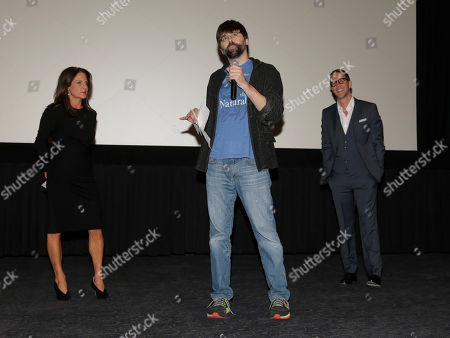 """Producer Cathy Schulman, Author Joe Hill and Producer Joey McFarland introduce a special screening of Radius-TWC's """"Horns"""" presented by PAX by Ploom at ArcLight Hollywood on in Hollywood, Calif"""