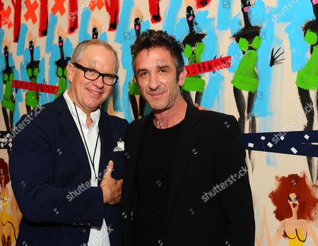 Donald Robertson and Davis Factor are seen at the grand re-opening celebration at Smashbox Studios, in Culver City, Calif