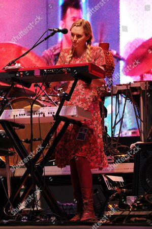Nora Kirkpatrick of Edward Sharpe and The Magnetic Zeros performs during Sunfest on in West Palm Beach Florida