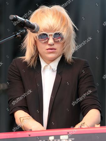 Stock Image of Anna Bulbrook of The Airborne Toxic Event performs in concert during the Radio 104.5 Summer Block Party at Festival Pier, in Philadelphia