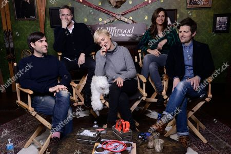 From left to right, actor Jason Schwartzman, director Patrick Brice, actor Judith Godreche, producer Naomi Scott, and actor Adam Scott seen at The Hollywood Reporter Studio at Sundance on in Park City, Utah
