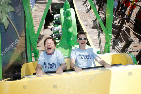 """IMAGE DISTRIBUTED FOR FOX SEARCHLIGHT - River Alexander and Liam James go on an amusement park ride for """"The Way Way Back"""" First Day of Summer Kick Off, on Friday, June, 21, 2013 in Santa Monica, California"""