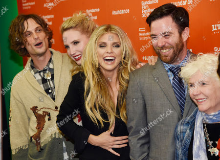 "Left to right, ""Trash Fire"" cast members Matthew Gray Gubler, Molly McCook and AnnaLynne McCord, producer David Lawson Jr. and cast member Fionnula Flanagan share a laugh as they pose together at the premiere of the film at the 2016 Sundance Film Festival, in Park City, Utah"
