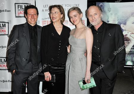 "From left, Arie Posin, Annette Bening, Jess Weixler, and Ed Harris arrive at the LA Premiere Screening of ""The Face of Love"" on in Los Angeles"