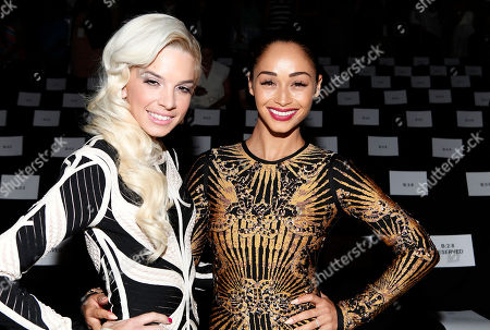 Lauriana Mae and Cara Santana attend the Herve Leger collection, during Mercedes-Benz Fashion Week in New York