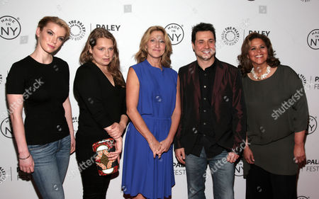 "From left, actors Betty Gilpin, Merritt Weaver, Edie Falco, Adam Ferrara and Anna Deavere Smith attend a screening of ""Nurse Jackie"" at PaleyFest: Made In NY on in New York"