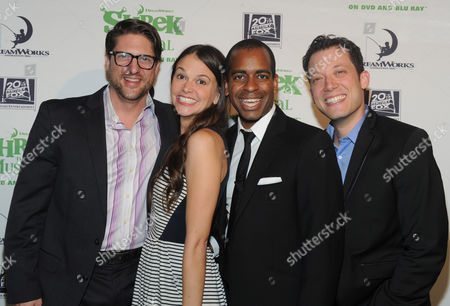 The stars of Shrek The Musical, Christopher Sieber, Sutton Foster, Daniel Breaker and John Tartaglia, left to right, strike a pose on the green carpet to celebrate the Blu-ray and DVD release, in New York