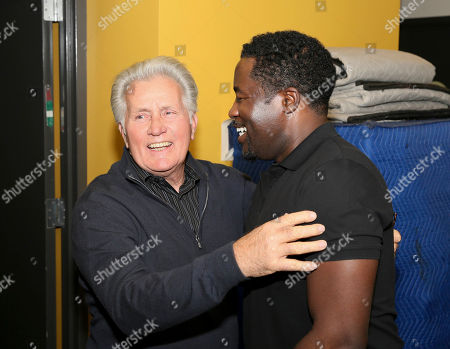 "From left, actor Martin Sheen congratulates writer/cast member Daniel Beaty backstage after the performance of ""The Tallest Tree in the Forest"" at the Center Theatre Group/Mark Taper Forum, in Los Angeles, Calif"