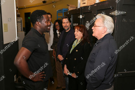 "From left, writer/cast member Daniel Beaty and Martin Sheen talk backstage after the performance of ""The Tallest Tree in the Forest"" at the Center Theatre Group/Mark Taper Forum, in Los Angeles, Calif"