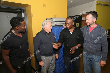 "From left, writer/cast member Daniel Beaty, actor Martin Sheen, music director Kenny J. Seymour and stage manager Craig Campbell talk backstage after the performance of ""The Tallest Tree in the Forest"" at the Center Theatre Group/Mark Taper Forum, in Los Angeles, Calif"