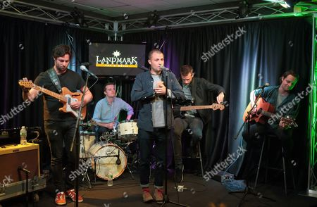 Stock Image of Felix White, from left, Sam Doyle, Orlando Weeks, Rupert Jarvis and Hugo White of the band The Maccabees visit the Radio 104.5 Performance Theater, in Philadelphia