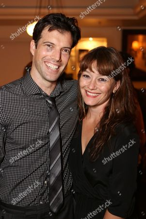 """From left, co-creator/performer Lorenzo Pisoni and co-creator/director Erica Schmidt pose during the party for the opening night performance of """"Humor Abuse"""" at the Center Theatre Group/Mark Taper Forum, in Los Angeles, Calif"""