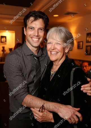 """From left, co-creator/performer Lorenzo Pisoni and mother Peggy Snider, co-founder Pickle Family Circus pose during the party for the opening night performance of """"Humor Abuse"""" at the Center Theatre Group/Mark Taper Forum, in Los Angeles, Calif"""