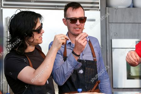 Tommy Black, left, and Scott Weiland attend a cooking demonstration at the 2015 BottleRock Napa Valley Music Festival at the Napa Valley Expo, in Napa, Calif