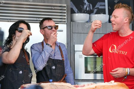 Tommy Black, from left, Scott Weiland and Tyler Rodde attend a cooking demonstration at the 2015 BottleRock Napa Valley Music Festival at the Napa Valley Expo, in Napa, Calif