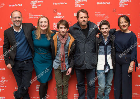 "Director Ira Sachs, from left, and actors Jennifer Ehle, Theo Taplitz, Greg Kinnear, Michael Barbieri and Paulina Garcia pose at the premiere of ""Little Men"" during the 2016 Sundance Film Festival, in Park City, Utah"