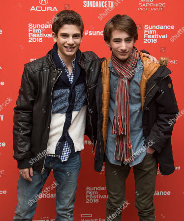 "Actors Michael Barbieri, left, and Theo Taplitz pose at the premiere of ""Little Men"" during the 2016 Sundance Film Festival, in Park City, Utah"