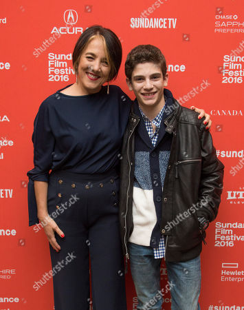 """Actress Paulina Garcia, left, and actor Michael Barbieri pose at the premiere of """"Little Men"""" during the 2016 Sundance Film Festival, in Park City, Utah"""