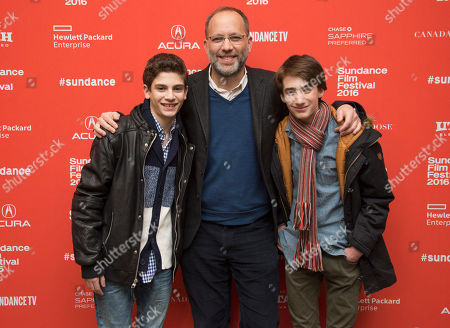 "Michael Barbieri, from left, director Ira Sachs and Theo Taplitz pose at the premiere of ""Little Men"" during the 2016 Sundance Film Festival, in Park City, Utah"