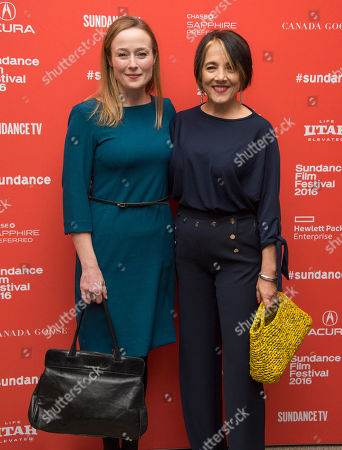 """Actresses Jennifer Ehle, left, and Paulina Garcia pose at the premiere of """"Little Men"""" during the 2016 Sundance Film Festival, in Park City, Utah"""
