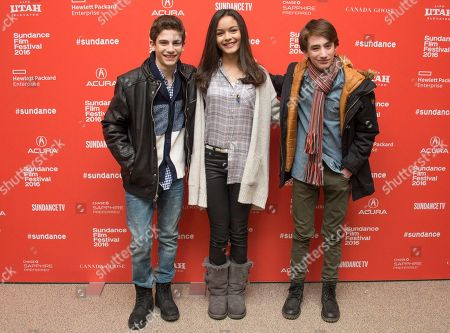"Michael Barbieri, from left, Madison Wright and Theo Taplitz pose at the premiere of ""Little Men"" during the 2016 Sundance Film Festival, in Park City, Utah"