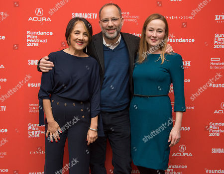 """Actress Paulina Garcia, from left, director Ira Sachs and actress Jennifer Ehle pose at the premiere of """"Little Men"""" during the 2016 Sundance Film Festival, in Park City, Utah"""