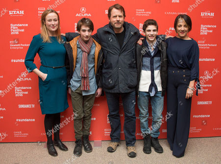"From left, actors Jennifer Ehle, Theo Taplitz, Greg Kinnear, Michael Barbieri and Paulina Garcia pose at the premiere of ""Little Men"" during the 2016 Sundance Film Festival, in Park City, Utah"