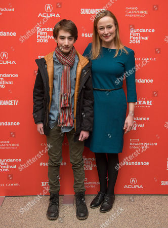 "Actor Theo Taplitz, left, and actress Jennifer Ehle pose at the premiere of ""Little Men"" during the 2016 Sundance Film Festival, in Park City, Utah"