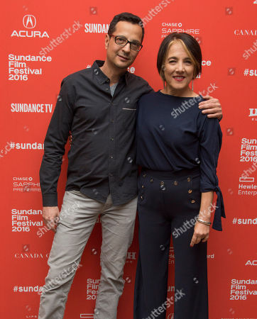 """Mauricio Zacharias and Paulina Garcia pose at the premiere of """"Little Men"""" during the 2016 Sundance Film Festival, in Park City, Utah"""
