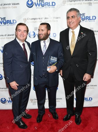 U.S. Congressman Ed Royce, left, Rabbi Shmuley Boteach and Crown Prince of Iran, Reza Pahlavi attend the Champions of Jewish Values International Awards Gala at the Marriott Marquis, in New York