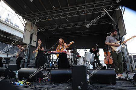 Kelsey Kopecky, Gabe Simon, Steven Holmes and David Krohn with Kopecky Family Band performing at the Shaky Knees Music Festival, in Atlanta