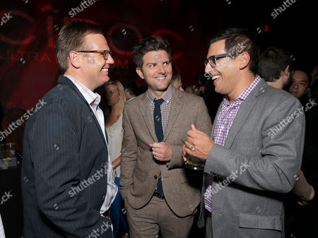 "The Film Arcade's Andy Bohn, Adam Scott and Director Stu Zicherman attend the Los Angeles Premiere of ""A.C.O.D."" Powered by CIROC Vodka, at The W Hotel on in Los Angeles"