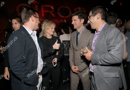 "The Film Arcade's Andy Bohn, Amy Poehler, Adam Scott and Director Stu Zicherman attend the Los Angeles Premiere of ""A.C.O.D."" Powered by CIROC Vodka, at The W Hotel on in Los Angeles"