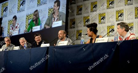 "From left, writer Matt Thompson, director/writer Adam Reed, actors Eugene Mirman, H. Jon Benjamin, Aisha Tyler and Chris Parnell attend the FX ""Archer"" panel on Day 3 of Comic-Con International on in San Diego, Calif"