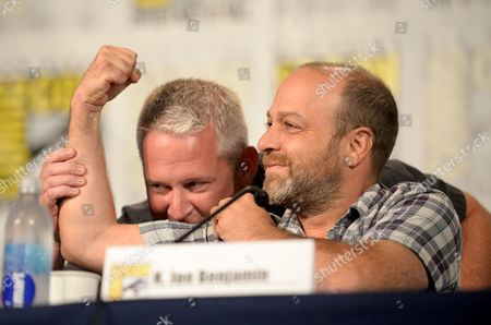 "From left, director/writer Adam Reed and actor H. Jon Benjamin attend the FX ""Archer"" panel on Day 3 of Comic-Con International on in San Diego, Calif"